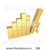 Royalty Free Stock Illustration of a Shiny Gold Person Pushing up the Last Column on a Bar Graph Chart, Symbolizing Effort and Success by 3poD