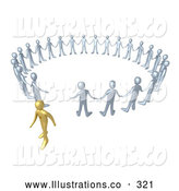 Royalty Free Stock Illustration of a Shiny Gold Person Walking Away from a Circle of Silver People, Symbolizing Different Beliefs, Quitting or Being Fired by 3poD