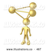 Royalty Free Stock Illustration of a Shiny Golden Employee with Atoms on His Head, Symbolizing a Genius, Ideas, Crativity and Brainstorming by 3poD