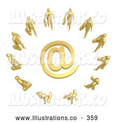 Royalty Free Stock Illustration of a Shiny Group of Gold Businesspeople Surrounding a Golden at Symbol by 3poD