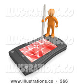 November 11th, 2013: Royalty Free Stock Illustration of a Shiny Orange Person Holding a Pen and Scheduling an Appointment on His Black Palm Pilot While Standing on It by 3poD