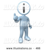 Royalty Free Stock Illustration of a Shiny Silver Person with an I for Information Head Giving the Thumbs up by 3poD