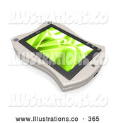 November 11th, 2013: Royalty Free Stock Illustration of a Shiny White Handheld Organizer with a Green Screen Saver by 3poD