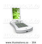 November 11th, 2013: Royalty Free Stock Illustration of a Shiny White Pda Computer with a Small Keyboard and a Green Screen Saver by 3poD