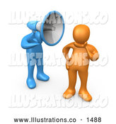 November 13th, 2013: Royalty Free Stock Illustration of a Silent Ignorant Orange Person in Thought, Chosing Not to Believe or Listen to What the Blue Megaphone Headed Person Is Yelling by 3poD