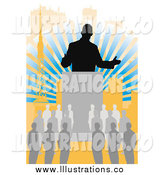 Royalty Free Stock Illustration of a Silhouetted Business Man Speaking to a Crowd over Rays by Mayawizard101