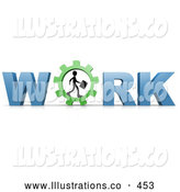 Royalty Free Stock Illustration of a Silhouetted Business Person Carrying a Briefcase and Walking in a Gear That Forms the Letter O in the Word Work by 3poD