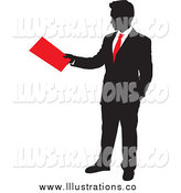 Royalty Free Stock Illustration of a Silhouetted Businessman Turning in a Red Folder by Paulo Resende