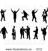 Royalty Free Stock Illustration of a Silhouetted Emotional Collection of Businesspeople Doing Different Poses by AtStockIllustration