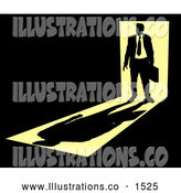 Royalty Free Stock Illustration of a Silhouetted Stylized Businessman Carrying a Briefcase, Standing in a Doorway with Bright Light from Behind, Casting a Shadow in Front of Him in a Dark Room, Symbolizing the Unknown Future by AtStockIllustration