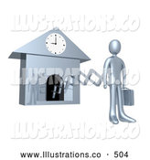 Royalty Free Stock Illustration of a Silver Man Coming from a Clock Symbolizing New Work Day, or Punctuality by 3poD