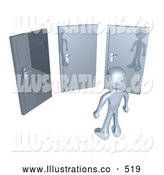 Royalty Free Stock Illustration of a Silver Man Standing in Front of Three Different Doors, Symbolizing Different Paths to Take for Job Opportunities or Life Choices by 3poD