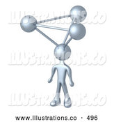 Royalty Free Stock Illustration of a Silver Man with Atoms on His Head, Symbolizing a Genius, Ideas, Crativity and Brainstorming by 3poD