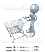 Royalty Free Stock Illustration of a Silver Person Standing with an Empty Shopping Cart in a Store by 3poD