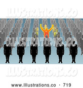 Royalty Free Stock Illustration of a Single Unique Businessman Holding His Arms Up, Surrounded by Men in Rows by AtStockIllustration