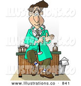 Royalty Free Stock Illustration of a Smart Male Doctor Sitting on His Desk While Talking by Djart