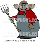Royalty Free Stock Illustration of a Smiling Chubby Mexican Cowboy Farmer Holding a Pitchfork by Djart