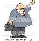 Royalty Free Stock Illustration of a Smiling Friendly Caucasian Businessman Waving Hello or Goodbye by Djart