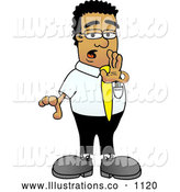 Royalty Free Stock Illustration of a Sneaky Black Businessman Mascot Character Whispering and Gossiping by Toons4Biz