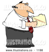 Royalty Free Stock Illustration of a Sneaky Businessman Peeking in a Confidential File by Djart