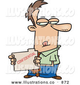 Royalty Free Stock Illustration of a Sneaky Determined Business Man Looking at a Confidential File in His Hands by Toonaday