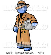 Royalty Free Stock Illustration of a Sneaky Secretive Blue Man in a Trench Coat and Hat, Carrying a Box with a Question Mark on It by Leo Blanchette