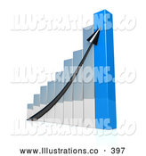 November 11th, 2013: Royalty Free Stock Illustration of a Solid Black Arrow Going up a Silver and Blue Bar Graph Chart Depicting an Increase in Sales by 3poD