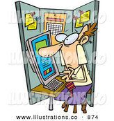 Royalty Free Stock Illustration of a Squished White Man Using a Computer in a Cramped Cubicle by Toonaday