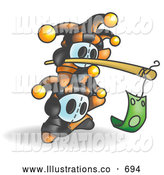Royalty Free Stock Illustration of a Stack of Two Jesters Holding a Stick with a Dollar on a Hook by Leo Blanchette