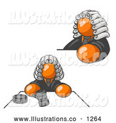 Royalty Free Stock Illustration of a Stern Orange Judge Man in Court by Leo Blanchette