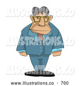 Royalty Free Stock Illustration of a Stern Professional Male Boss with His Arms at His Sides by AtStockIllustration