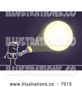 Royalty Free Stock Illustration of a Stick Businessman Shining a Light in the Dark by NL Shop