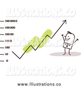 Royalty Free Stock Illustration of a Stick Man Watching a Growth Arrow Rise by NL Shop