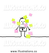 June 21st, 2014: Royalty Free Stock Illustration of a Stick People Businessman and Sticky Notes by NL Shop