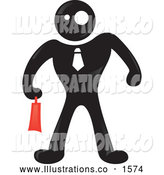 Royalty Free Stock Illustration of a Strange Blackman Character Businessman Wearing a Tie and Carrying a Red Briefcase by Paulo Resende