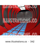 Royalty Free Stock Illustration of a Strange Modern Hallway in an Office Interior by 3poD