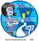 November 7th, 2013: Royalty Free Stock Illustration of a Strange Woman Realtor Standing by a Sold House by Andy Nortnik