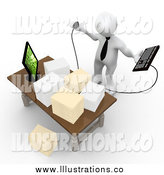 Royalty Free Stock Illustration of a Stressed 3d White Employee Staring at Stacks of Paperwork on a Desk by 3poD