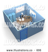 Royalty Free Stock Illustration of a Stressed Busy Boss or Manager Businessman in a Suit and Tie, Seated at a Desk and Doing Paperwork Inside His Private Office Suite with Filing Cabinets and Charts and Graphs on the Walls by 3poD