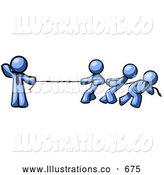 Royalty Free Stock Illustration of a Strong Blue Man Holding One End of Rope While a Group of Three Others Pull on the Other Side During Tug of War by Leo Blanchette