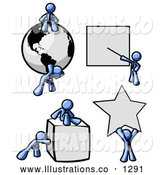 Royalty Free Stock Illustration of a Strong Blue Men with a Globe, Presentation Board, Cube and Star by Leo Blanchette
