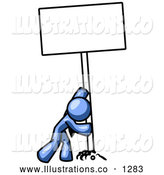 Royalty Free Stock Illustration of a Strong Friendly Blue Man Pushing a Blank Sign Upright by Leo Blanchette