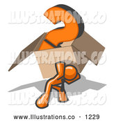 Royalty Free Stock Illustration of a Strong Orange Man Carrying a Heavy Question Mark in a Box by Leo Blanchette