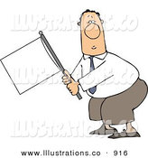 Royalty Free Stock Illustration of a Submissive White Businessman Holding a White Flag on a White Background by Djart