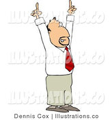 Royalty Free Stock Illustration of a Successful Businessman Pointing Hands and Fingers up by Djart