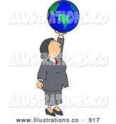 Royalty Free Stock Illustration of a Successful Caucasian Businesswoman Holding the Globe in Her Hand - Business Concept by Djart