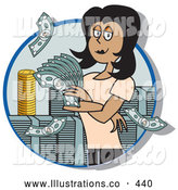 November 7th, 2013: Royalty Free Stock Illustration of a Successful Friendly Female Realtor Standing in a Giant Stack of Cash and Coins by Andy Nortnik