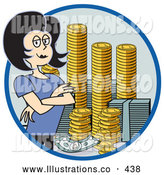 November 7th, 2013: Royalty Free Stock Illustration of a Successful Greedy Businesswoman Standing with Her Arms Crossed by Stacks of Coins and Money by Andy Nortnik