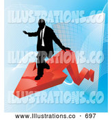 Royalty Free Stock Illustration of a Successful Professional Businessman Riding on a Red Arrow As Revenue Increases by AtStockIllustration