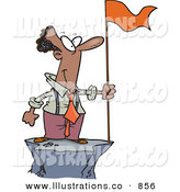 Royalty Free Stock Illustration of a Successful Smiling African American Business Man Standing on a Mountain Top with a Red Flag by Toonaday